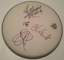 """RED HOT CHILI PEPPERS BAND SIGNED 14"""" DRUMHEAD AUTOGRAPH ANTHONY KIEDIS ALL 4"""
