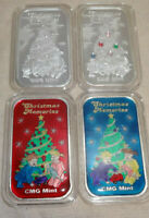 Set Of 4 Christmas Memories .999 Silver Art Bars CMG Mint Gemmed Enameled