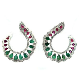 NATURAL GREEN EMERALD, RED RUBY & CZ 925 STERLING SILVER EARRINGS