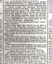 GEN McCLELLAN FIRED & NOMINATED PRESIDENT CIVIL WAR 1862 PHILA LEDGER NEWSPAPER