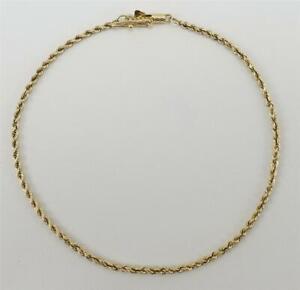 "NEW 14K yellow gold ladies 2mm round chain 8"" bracelet Ma 2.5g"