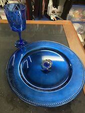 Wedding Or Dinner Party Royal Blue Charger Plate, Wine Glass & Napkin Ring Set