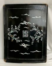 Antique Korean Black Lacquer Table Panel MOP Mother of Pearl  -  59830