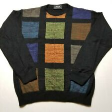 Marcello Mens Sweater sz XL Black Pullover Autumn Squares Wool Blend F65