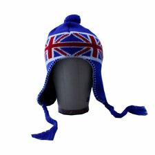 Unisex Union Jack UK Flag Pattern Peruvian Knitted Trapper Hat with Pom Pom