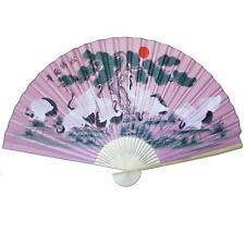 "Large 84"" Folding Chinese Wall Fan Oriental Paper Hanging- Pink Crane"
