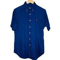 Ralph Lauren Casual Mens Blue Button Up Linen Shirt Size Small