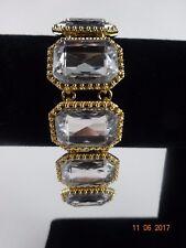 J. Crew Factory Crystal Stone w. Gold Finish Bracelet Signed