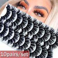 SKONHED 8 10 Pairs 3D Mink False Eyelashes Wispy Cross Fluffy Extension Lashes.