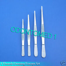 """Lot of 4 Thumb Dressing Forceps 5"""", 5.5"""",6"""",8"""" Surgical,Vet,Dental Lab Inst"""