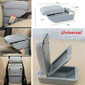 7 USB Rechargeable Style SUV Car Central Container Armrest Storage w/ Light Gray