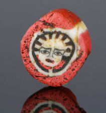 Ancient Roman face beads: Genuine Roman mosaic glass face bead, Egypt, 1 century