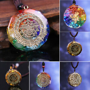Orgonite Pendant SRI YANTRA Om Symbol Necklace Chakra Energy Sacred Geometry