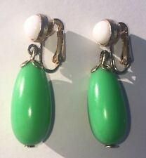 AVON Green Earring White Gold Clip on Earrings Costume Jewelry Tear Drop Vintage