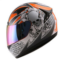 1STORM DOT MOTORCYCLE STREET BIKE FULL FACE HELMET BOOSTER SKULL ORANGE HG335