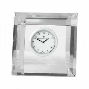 ROYAL DOULTON Radiance Mantle Clock Square Optical Glass Faceted Décor 8.5cm NEW
