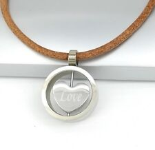 Silver Chrome Round Love Heart Pendant Womens Brown Leather Cord Choker Necklace