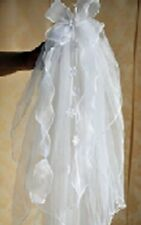 V02 GIRL 1st Holy Communion Headdress 2T Ribbon Veil Flower Girl Comb