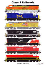 "Class 1 Railroad Locomotives 11""x17"" Poster by Andy Fletcher signed"