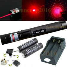 Military Powerful Red 1mW 650NM Laser Pointer Pen 303 Light Beam + 2x Battery
