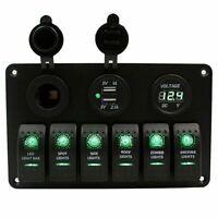 6 Gang Green LED Rocker Switch Panel Breaker + Voltmeter for RV Car Marine Boat