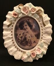 NIB Raj Imports Oval Antique Style Floral Mini Photo Frame Hand Painted NOS
