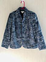 Coldwater Creek Womens Blue Black Acrylic Tweed 5 Button Blazer Jacket Size 8P