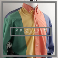 Nautica Mens Button Down Size L Color Block Nautical Casual Shirt 8022