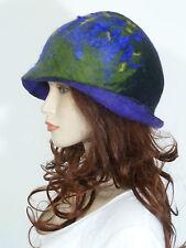Funky 1930's GATSBY style asymmetric black & purple soft boiled wool cloche hat