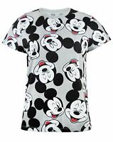 Disney Mickey Mouse Face All Over Print Women's Short Sleeve T-Shirt