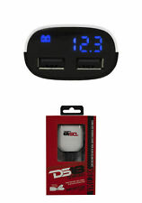 DS18 Car Audio 12 Volt meter With Dual Quick Charger USB Ports Black