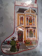 """Christmas Candamar Needlepoint Stocking Holiday Kit,VICTORIAN HOUSE,30638,17"""""""