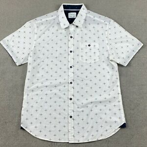 Level Ten Men's Short Sleeve Button Down Shirt Large White Modern Pocket L