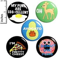 """Funny Pun 5 Pack Button Backpack Pins Donut Avocado Pizza Puns Gift Set 1"""" P19-4"""