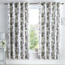 Dreams & Drapes MARINELLI Floral Curtains Grey Pair Eyelet Ready Made 66x72 cm