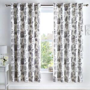 Dreams & Drapes MARINELLI Floral Curtains Grey Pair Eyelet Ready Made 66x72 cm