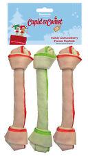 "Cupid & Comet Festive Turkey And Cranberry Rawhide Bones 8"" Pack Of 3 Xmas Treat"