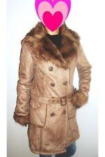 Manteau style peau / daim ✿✿✿ MIM ✿✿✿ Beige / Marron Col Fourrure Taille 40 Neuf