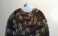 Newborn GREEN Camouflage Breastfeeding Crochet Boob Baby Beanie/Hat