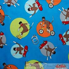 BonEful Fabric FQ Cotton Quilt Blue Red Brown Sock Monkey Stripe Sport Boy Baby