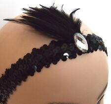 Sequin Feather Headband Browband 20s Flapper 1920s Fancy Dress Charleston Bv2