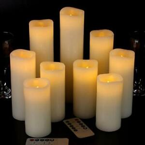 Remote Flameless  Candles Battery Operated Set of 9 Ivory Real Wax Pillar LED