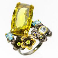 Discount Sale  Natural Lemon Quartz 925 Sterling Silver Ring Size 8.5/R83689