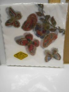 VTG RICE PAPER NAPKINS Scallop Edge PKG of 20 NIP Japan Butterfly  Decoupage