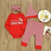 Baby Girls Boys Clothes Set Print Romper+Pants+Headdress+Hat Christmas Wear