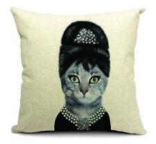 Cotton Linen Cushion Cover Pillow Case Pet Cat Face Audrey Hepburn
