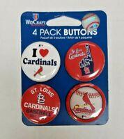 WinCraft  ST. LOUIS CARDINALS 4 Pack Buttons Souvenirs NEW
