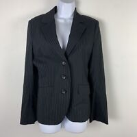 Express Womens Blazer Sz 8 Black White Pin Stripe 3 Button Jacket Career VA4