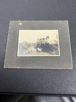 Cabinet Card Photo Young Women And Cowboy Posing Outside In Hills