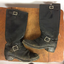 Vintage 1940's 50s Sears Black Leather Buckle Distressed Motorcycle Riding Boots
